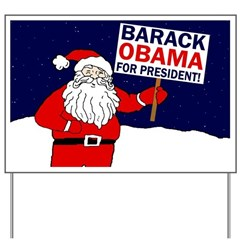 Santa for Obama Whimsical Yard Sign