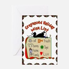 GREYHOUND HOLIDAY WISH LIST GREETING CARD