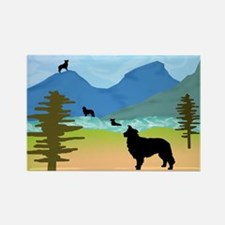 Wild Mountain Border Collies Rectangle Magnet (10