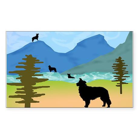 Wild Mountain Border Collies Rectangle Sticker