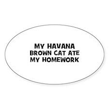 My Havana Brown Cat Ate My Ho Oval Decal