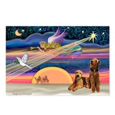 Xmas Star/2 Airedales Postcards (Package of 8)