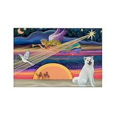 Xmas Star & Akita Rectangle Magnet (10 pack)