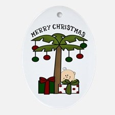 Palm Tree Merry Chirstmas Oval Ornament