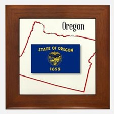 Oregon State Map and Flag Framed Tile
