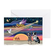 XmasStar/2 Cattle Dogs Greeting Cards (Pk of 20)
