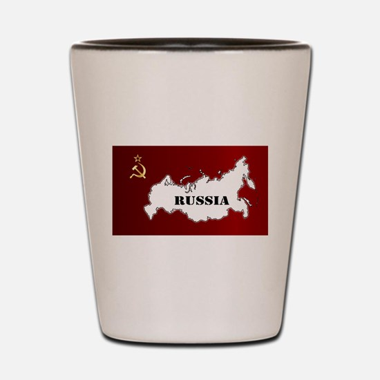 Russian Flag and Map Shot Glass