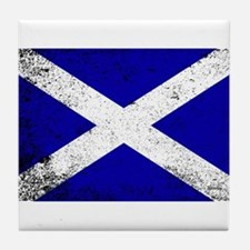 Scotish Flag Grunge Tile Coaster