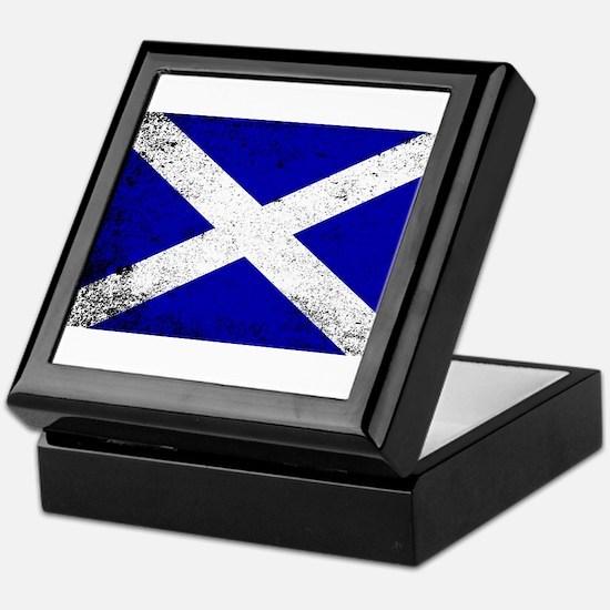 Scotish Flag Grunge Keepsake Box