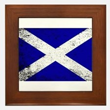 Scotish Flag Grunge Framed Tile