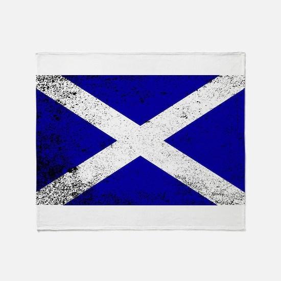 Scotish Flag Grunge Throw Blanket