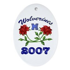 07 U of M Rose Bowl Oval Ornament