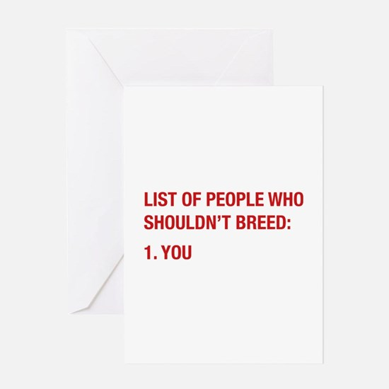 List Of People Greeting Card