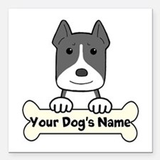 """Personalized Pit Bull Square Car Magnet 3"""" x 3"""""""