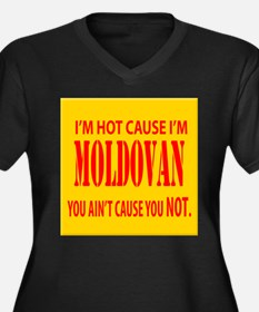 hot Moldova Women's Plus Size V-Neck Dark T-Shirt