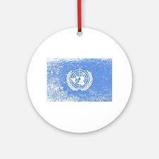 United Nations Flag Grunge Round Ornament