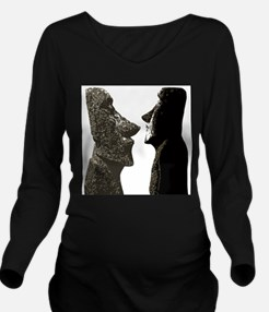 Easter Island Heads Long Sleeve Maternity T-Shirt