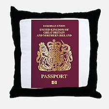 British Passport Throw Pillow