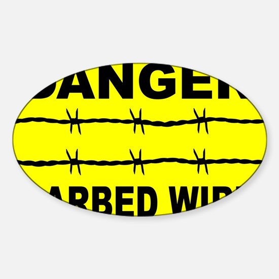 Barbed Wire Warning Sign Decal