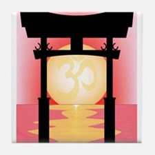Japanese Tori Gate Sunset Tile Coaster