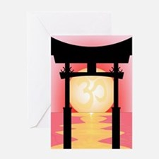 Japanese Tori Gate Sunset Greeting Cards