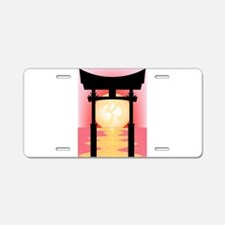Japanese Tori Gate Sunset Aluminum License Plate