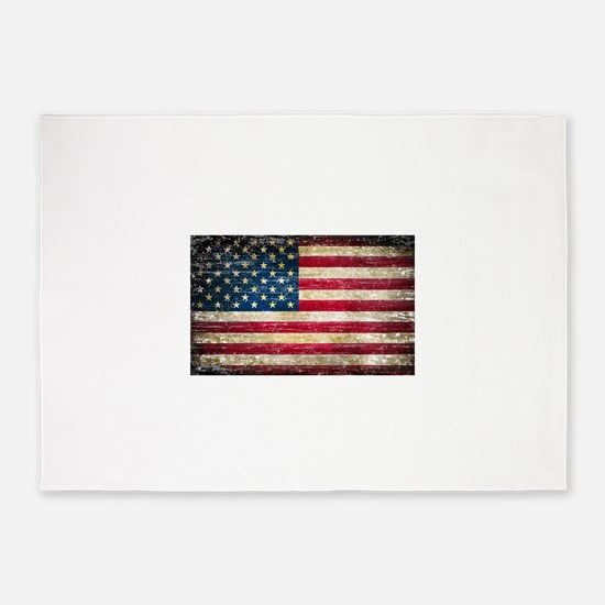 Faded American Flag 5'x7'Area Rug