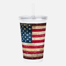 Faded American Flag Acrylic Double-wall Tumbler