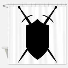 Crossed Swords Silhouette Shower Curtain
