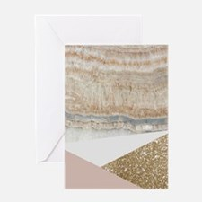 Pink Gold Glitter Marble Greeting Cards