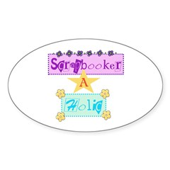 Scrapbooker-a-Holic Oval Decal