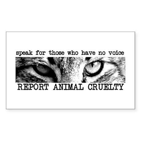 Report Animal Cruelty Cat Rectangle Sticker