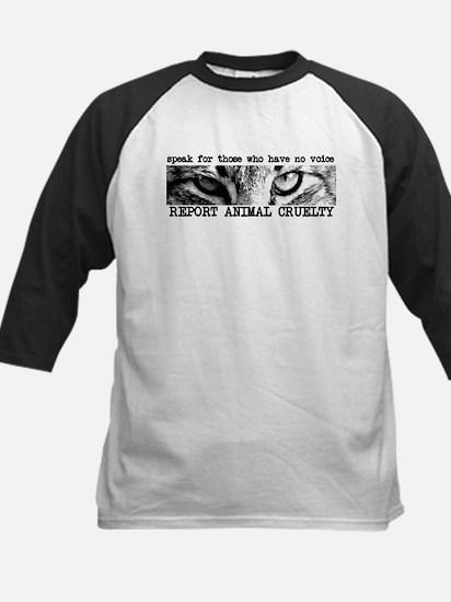 Report Animal Cruelty Cat Kids Baseball Jersey