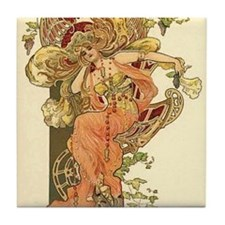 Fall Autumn Art Nouveau Lady Tile Coaster