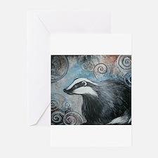 Spiral badger Greeting Cards