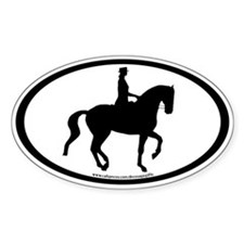 Piaffe Dressage Horse & Rider Oval Decal