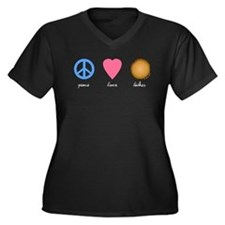 Peace Love Latkes Women's Plus Size V-Neck Dark T-