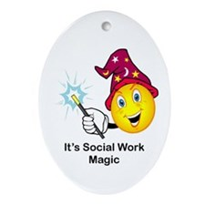 Social Work Magic Oval Ornament