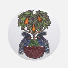 Partridges in a Pear Tree Ornament (Round)