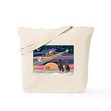 Xmas Star & Min Pin pair Tote Bag