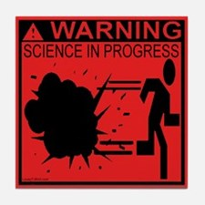 Science In Progress (red) Tile Coaster