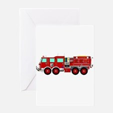 Red Brush Fire Truck Greeting Cards