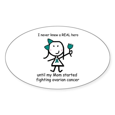 Teal Ribbon - Hero Mom Oval Sticker