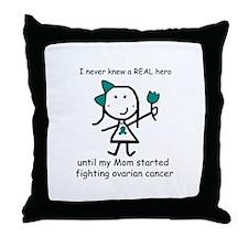 Teal Ribbon - Hero Mom Throw Pillow