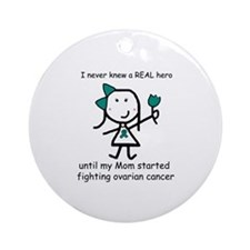 Teal Ribbon - Hero Mom Ornament (Round)