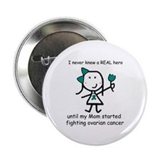 "Teal Ribbon - Hero Mom 2.25"" Button"