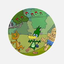 Cartoon illustration of dancing animals. Button