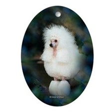 Standard White Show Poodle Oval Ornament