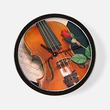 Violin Rose Wall Clock