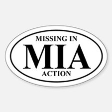 MIA Missing In Action Oval Decal